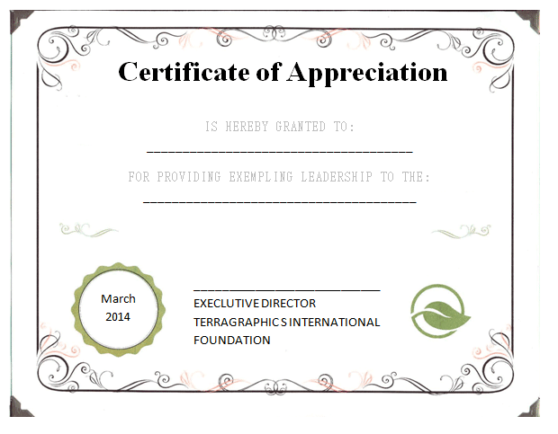 Leadership Certificate Of Appreciation Template  Certificate Of Appreciation Words