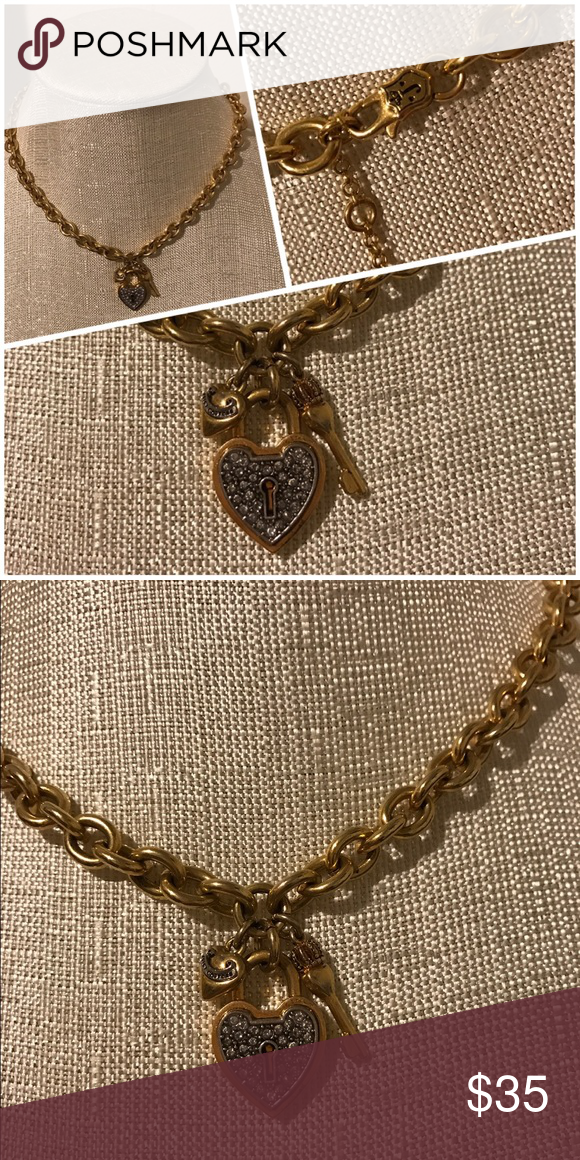 Juicy Couture Pave Heart Padlock Chain Necklace Heart Padlocks Juicy Couture Jewelry Necklaces Juicy Couture