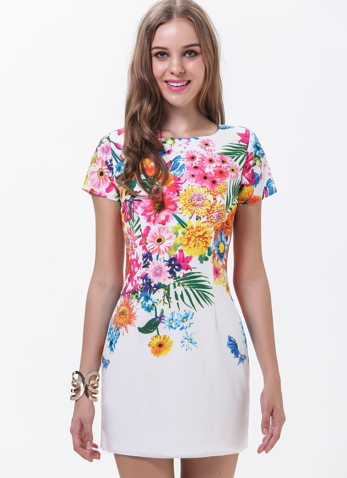 ff04c59de9 Shop White Short Sleeve Florals Print Dress online. Sheinside offers White  Short Sleeve Florals Print Dress   more to fit your fashionable needs.