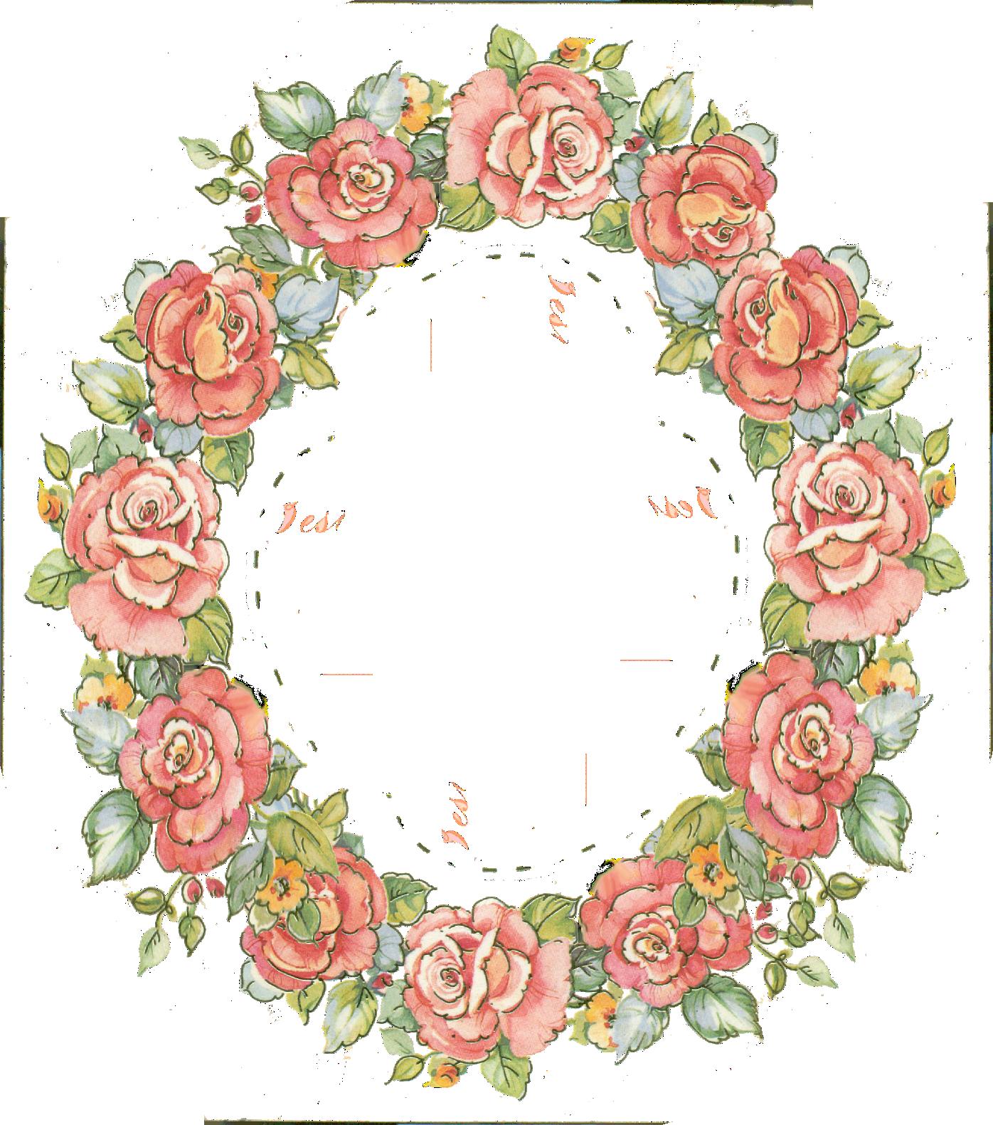 digital vintage rose frame; free download Flower frame