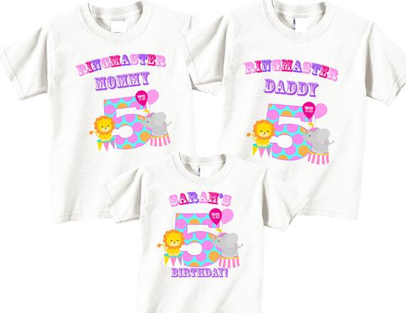 5th Birthday Shirts For Mom Dad Girl Set With Circus Tees