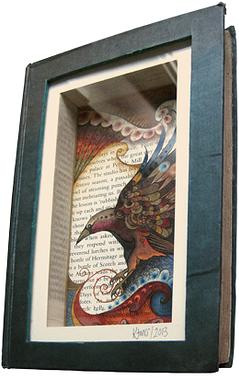 'Written Raven' framed Book Art by katiemo