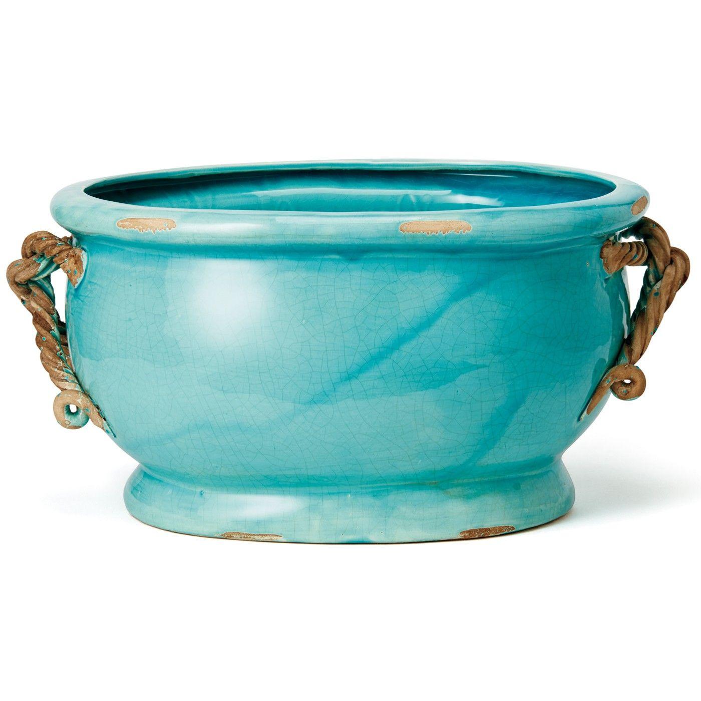 Il Nodo Oval Cachepot Il Nodo Collections Italian Ceramics Ceramic Dinnerware Vietri