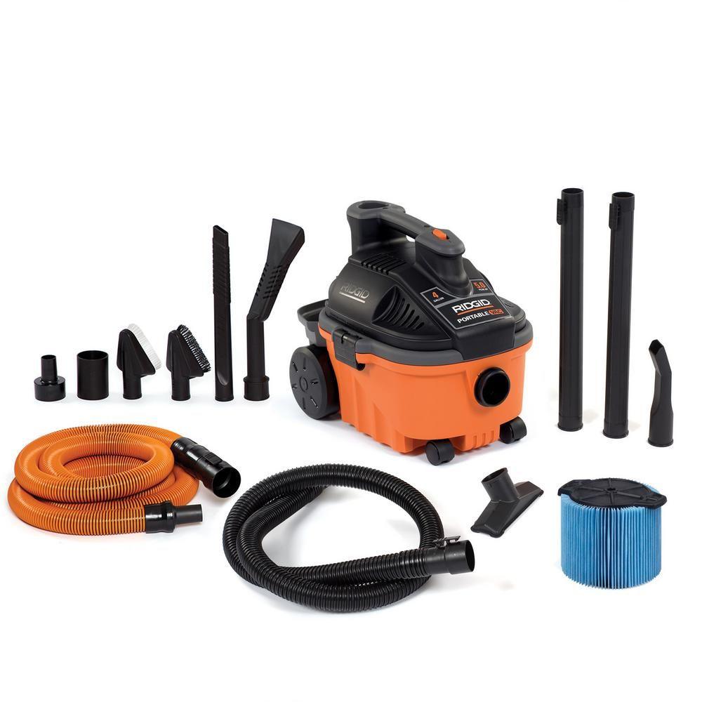 Ridgid 4 Gal 5 0 Peak Hp Portable Wet Dry Shop Vacuum With Fine