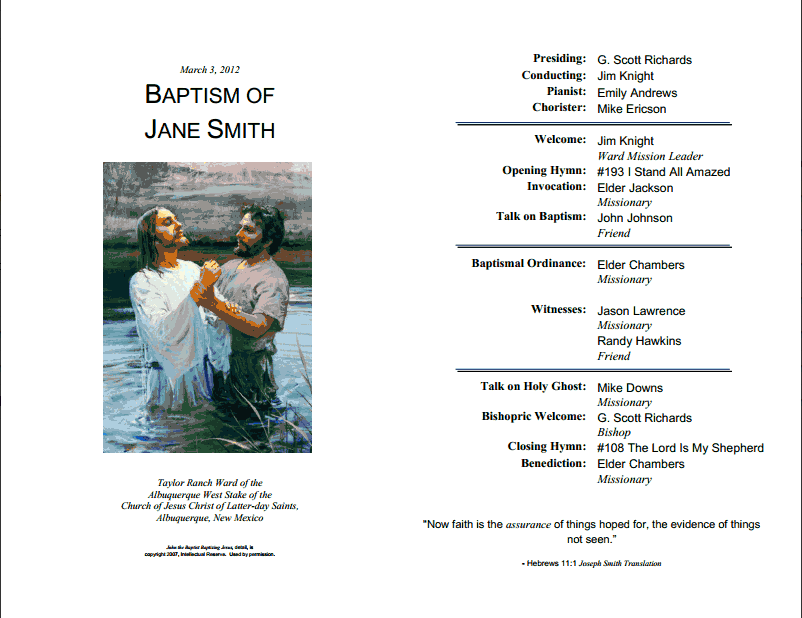 Free Lds Baptism Program Template  LaytreasuresinheavenCom With