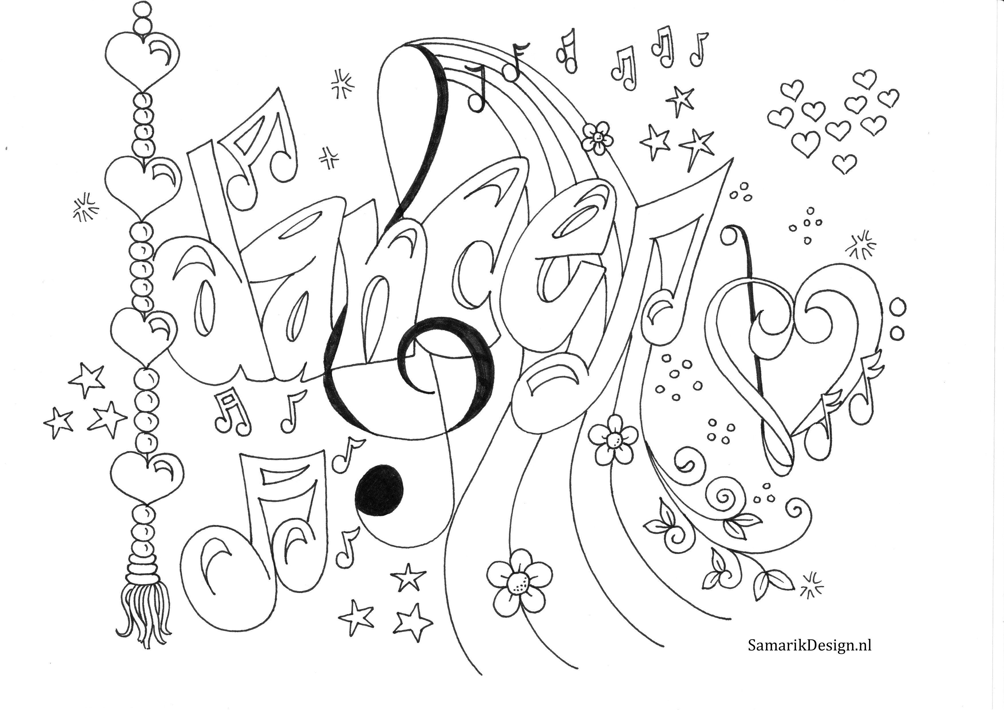 Kleurplaat voor volwassenen. Dance doodle