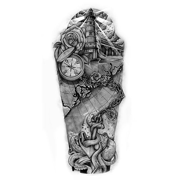 Nautical sleeve tattoo design ocean tattoo sleeve for Ocean tattoos black and white