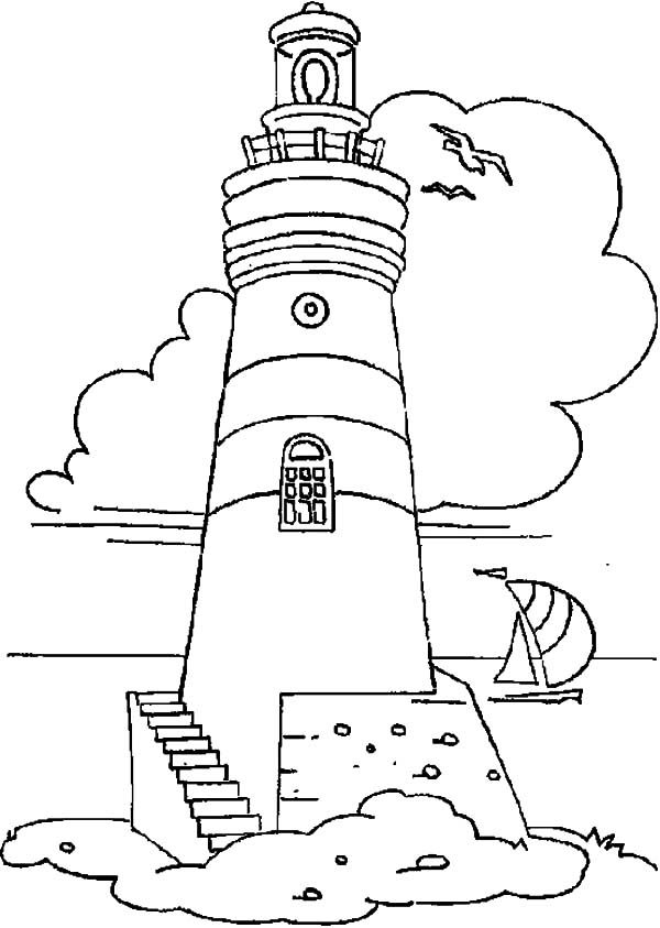 Lighthouse, : Lighthouse and Sailing Boat Coloring Pages