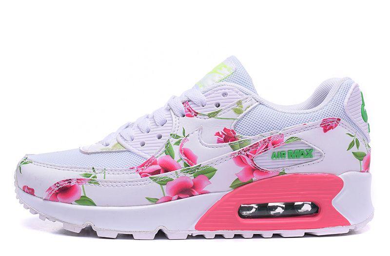 meilleure sélection a3e7d ca83a TJ49370 Nike Air Max 90 Nouveautés Print Blanc et Rose,nike ...