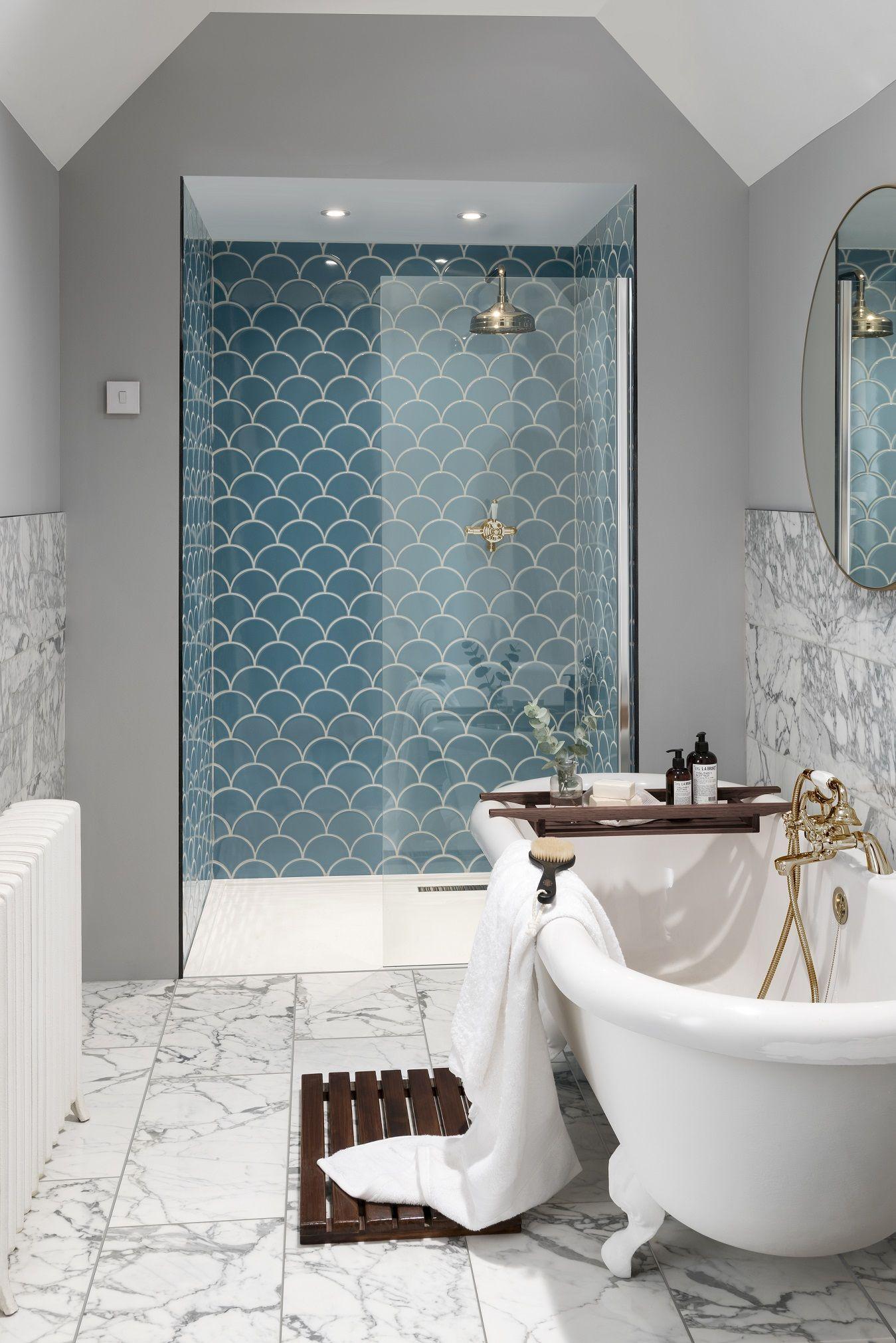 Scallop Tiles Bathroom Go For Beautifully Unique Bathroom Final View By Installing Scallop Patterned T Bathroom Interior Design Unique Bathroom Loft Bathroom