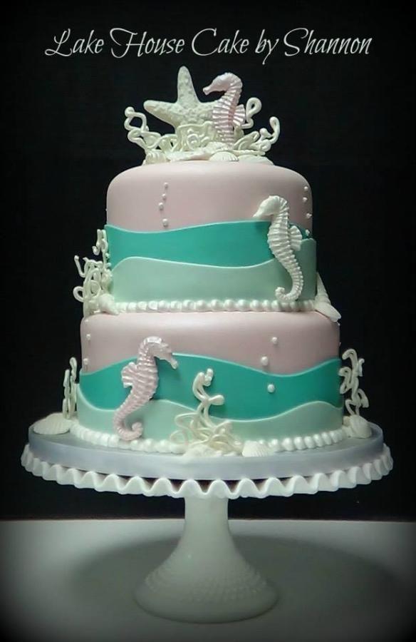 Under the Sea Themed Baby Shower Cake | Mermaid baby ...