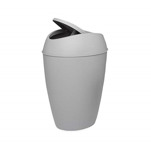 Twirla 2 4 Gallon Trash Can With Swing Top Lid Gray Flips Quickly
