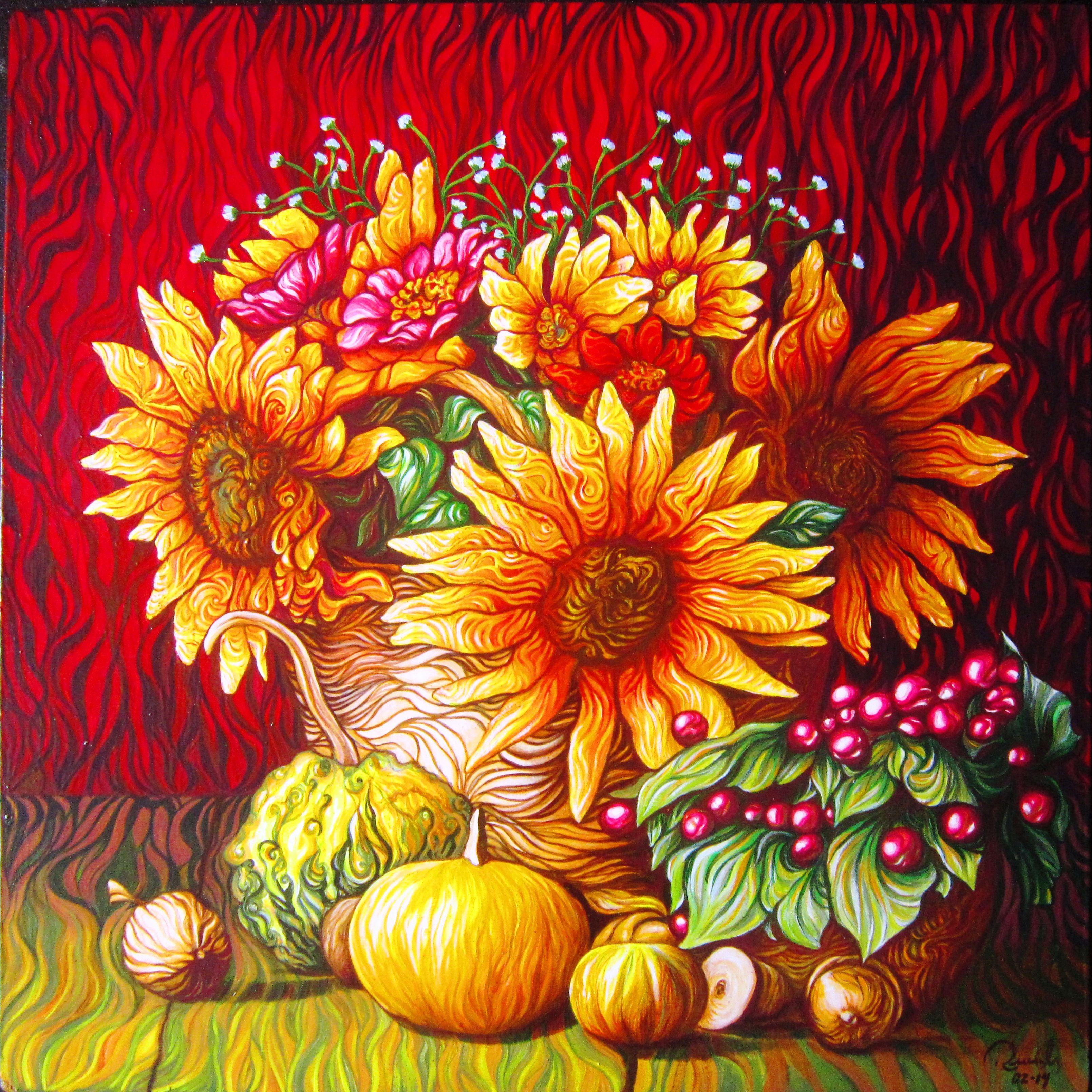 Cuadro Pintado Con Acrilico Sobres Madera De 50 X 50 Cm Pintado Por Pedro Rueda Gargurevich Mosaic Flowers Art Painting