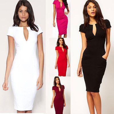 3631e6359a5 Women Sexy Bodycon Slim Deep V-neck Pencil Dress Business Cocktail Party  Dress