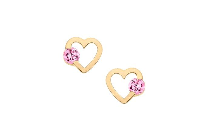 Daughter / Solitaire Heart Silhouette Earrings, Pink, Screw Back - 14K Gold