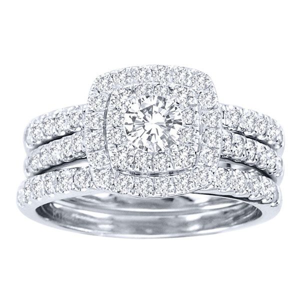 de couer 10k white gold 1 12ct tdw diamond double halo bridal ring set - Halo Wedding Ring Set