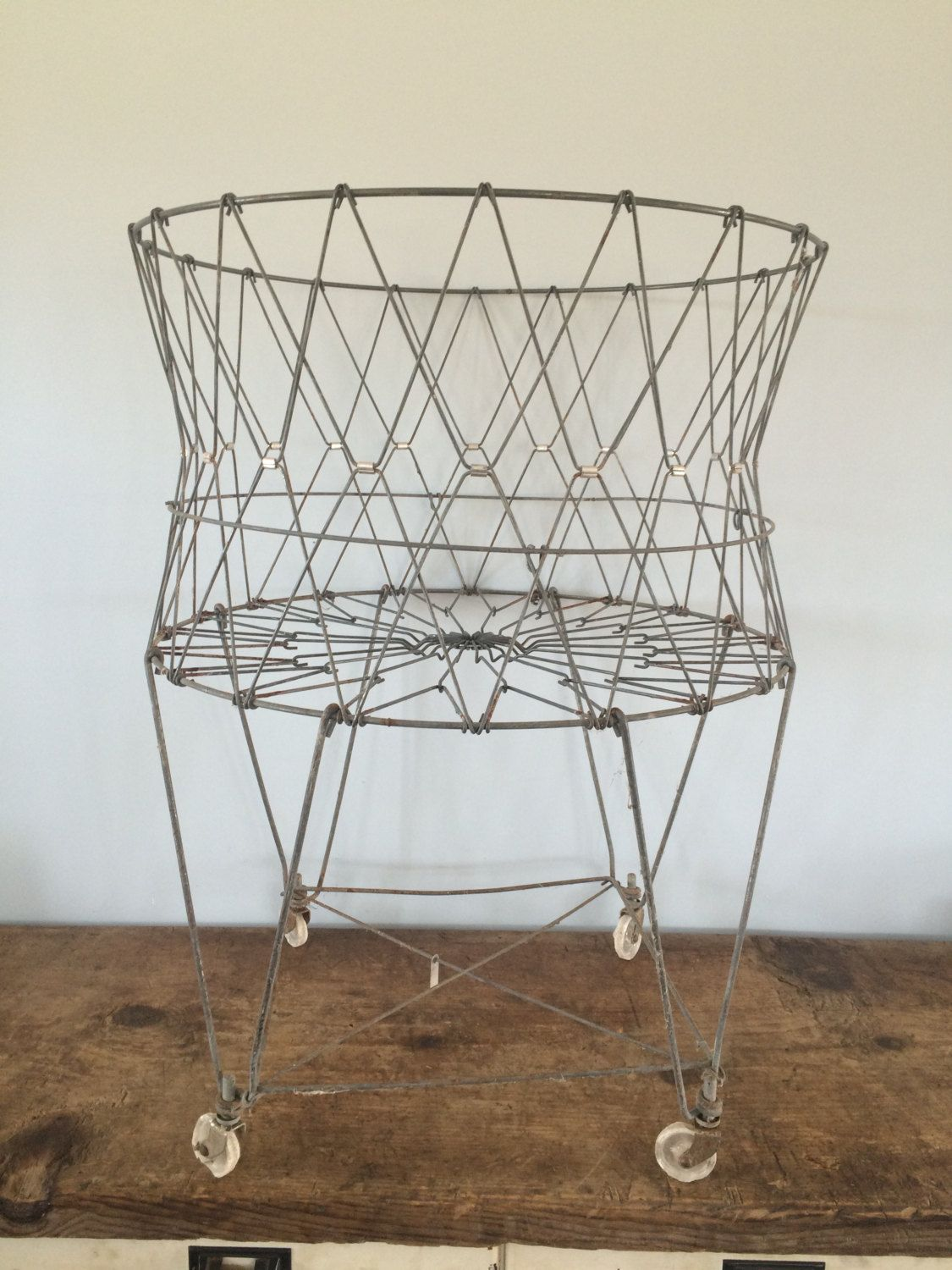 Vintage Original Collapsable Wire Laundry Basket on Wheels, Rolling ...