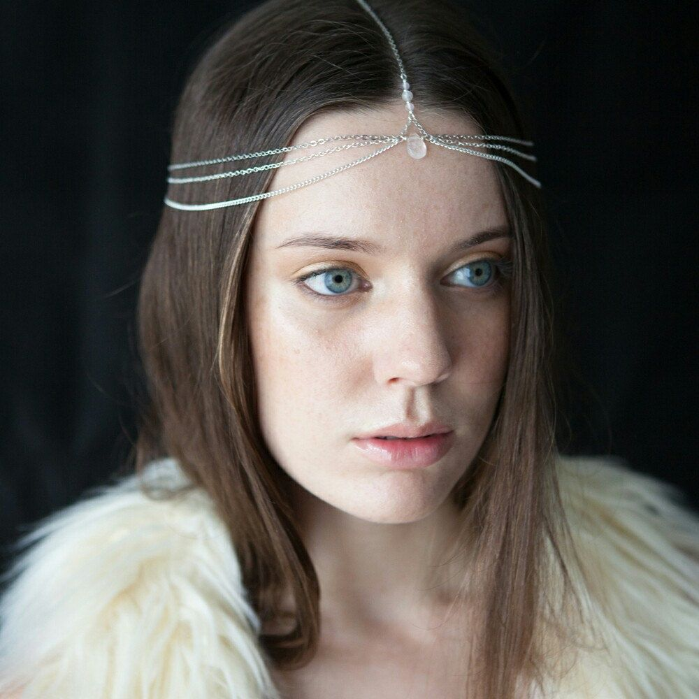 Rose quartz head chain silver boho headpiece gemstone crown