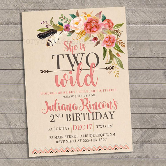 Two Wild Birthday Party Invitations Second 2nd Baby Flowers Tribal Feathers Ar