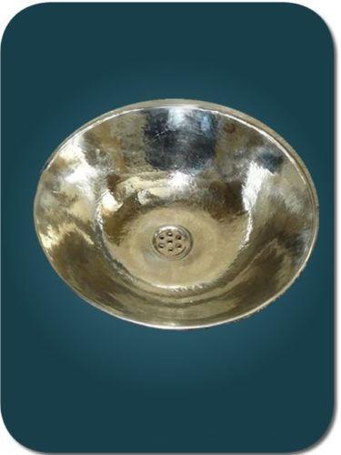 Vasque a poser maillechort = metal argente_cuivre maroc_salle de ...