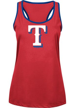 Majestic Texas Rangers Womens Red All About Function Tank Top Clothes For Women Texas Rangers Women