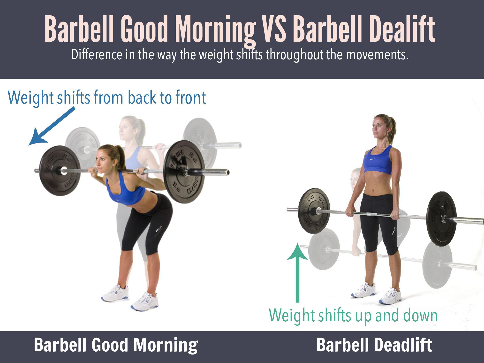 Deadlift vs good morning how are they different barbell barbell deadlifts or barbell good morning which works your glutes and hamstrings more difference falaconquin
