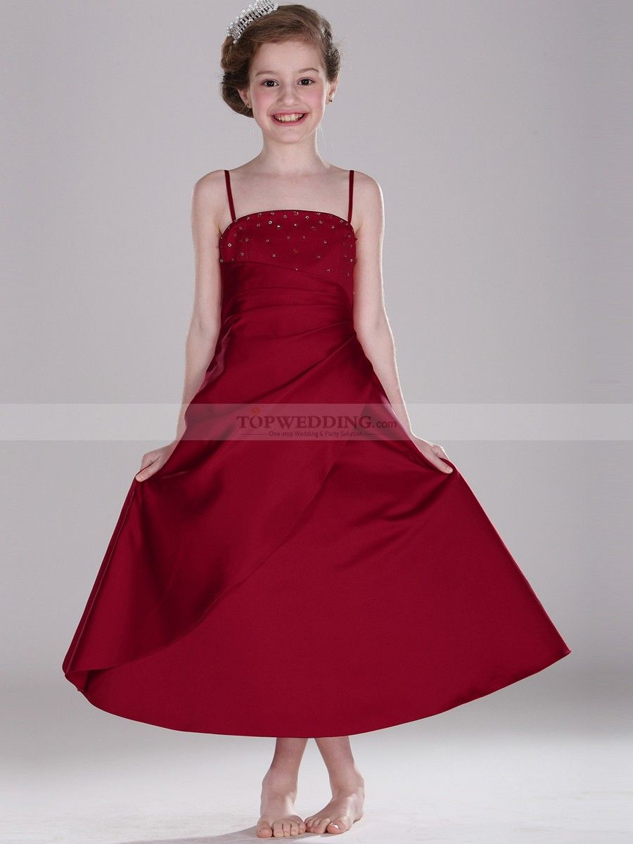 Spaghetti strapped ankle length satin flower girl dress with draping