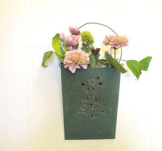 Tin Wall Pocket Shabby Chic Wall Planter By Creeklifetreasures 28 00 Wall Planter Tin Walls Wall Pockets