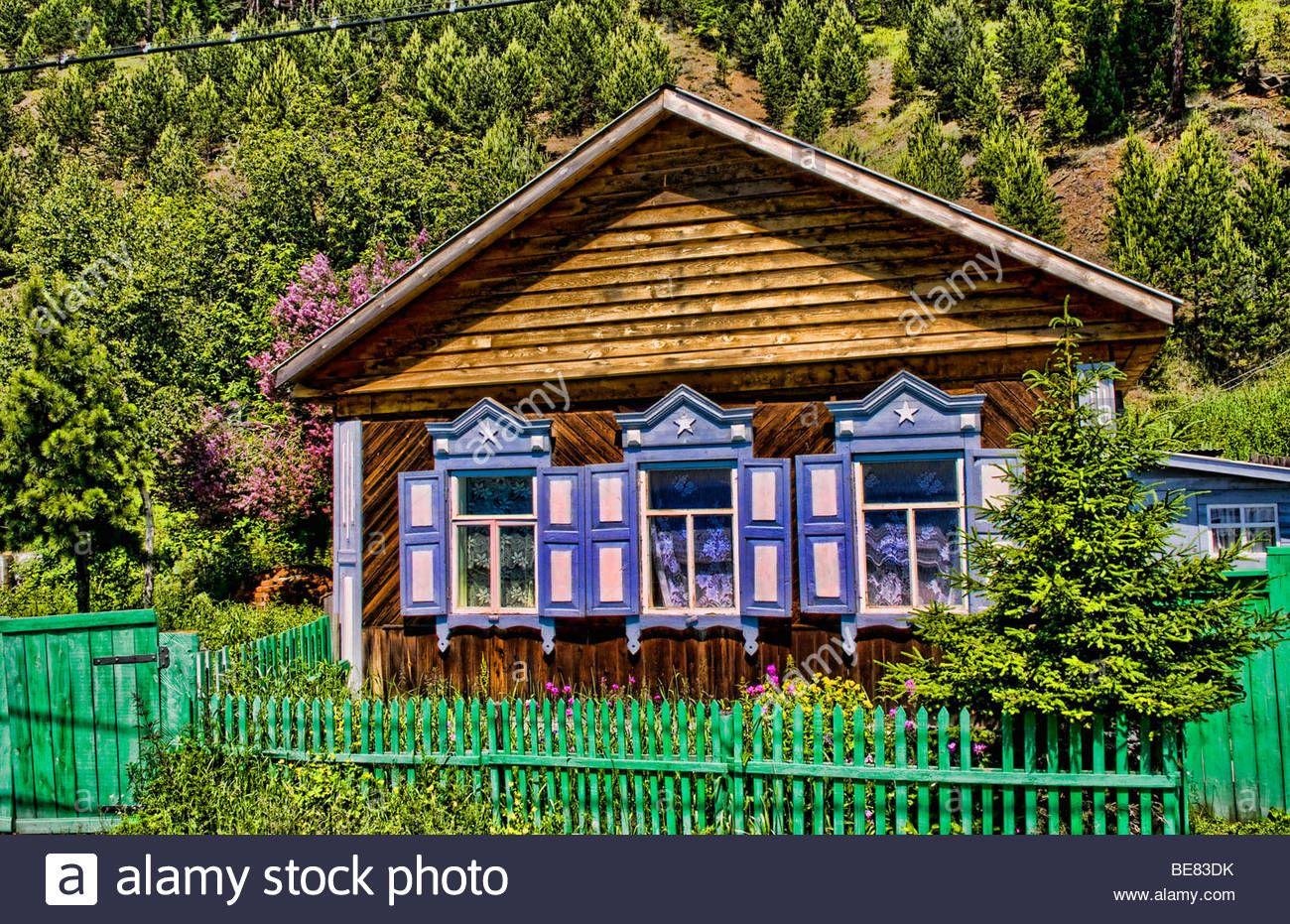 Beautiful old wooden houses with shutters in famous style Listvyanka near Irkutsk in Siberia Russia Stock Photo