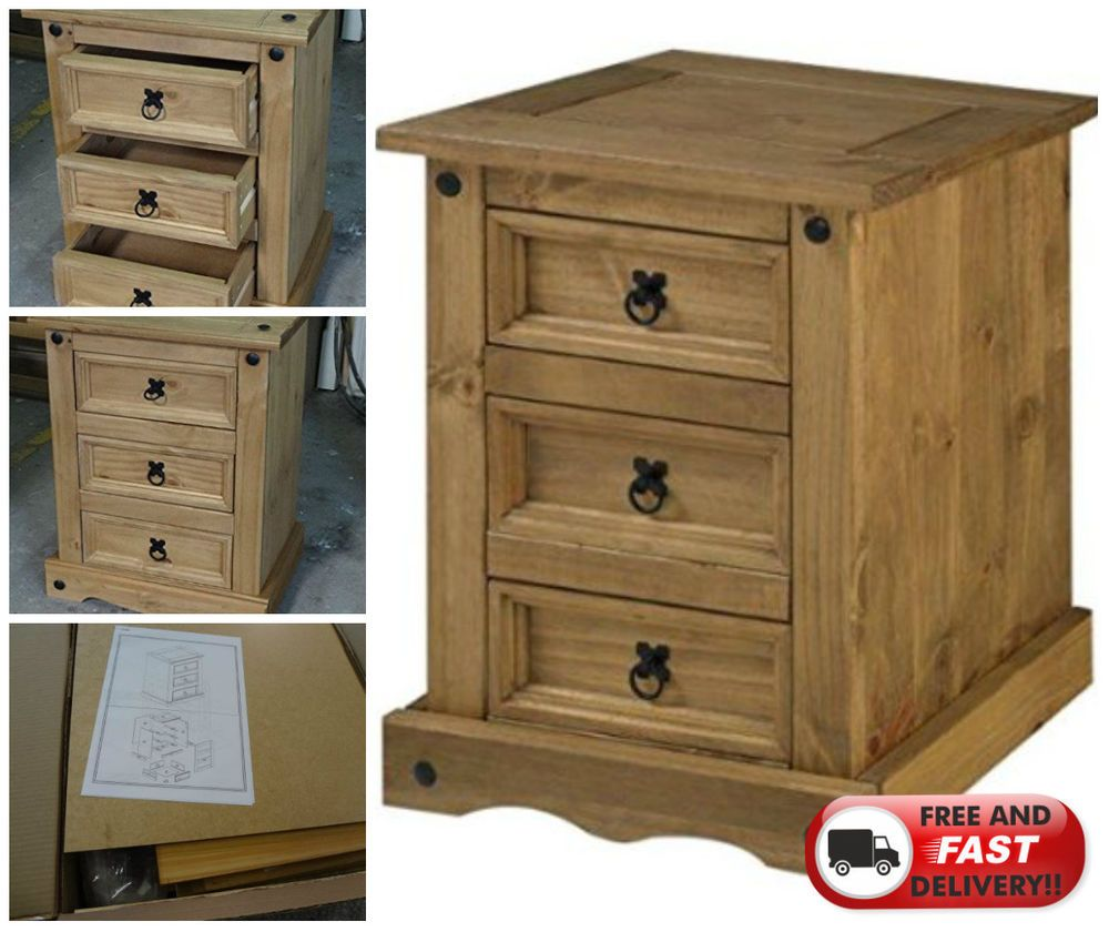 Bedside Cabinet Table Furniture 3-Drawer Mexican Pine Wood Waxed ...
