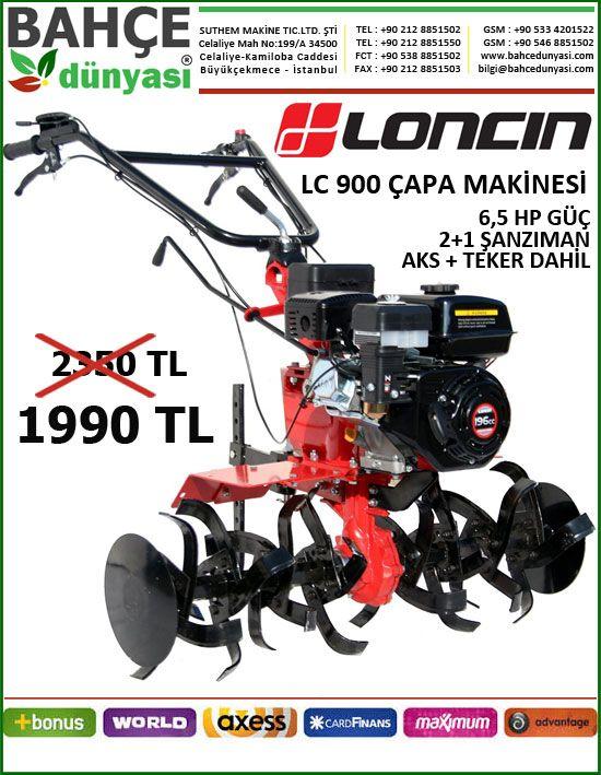 LONCIN LC 900 ÇAPA MAKİNESİ 2+1 ŞANZIMANLI 6,5 HP MOTOR GÜCÜ AKS+TEKERLER DAHİL  ADRES TESLİM 1990 TL  http://www.bahcedunyasi.com/toprak-isleme-urunleri/capa-makinesi/loncin-capa-makinesi/loncin-lc-900-6-5-hp-benzinli-sanzimanli.html