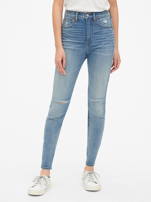 1a191a5bf3 Gap Womens Super High Rise Distressed True Skinny Jeans With Secret  Smoothing Pockets (Medium) Medium Destructed