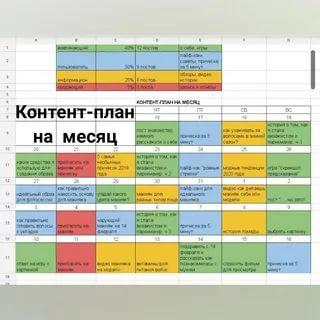 таблица контент план инстаграм