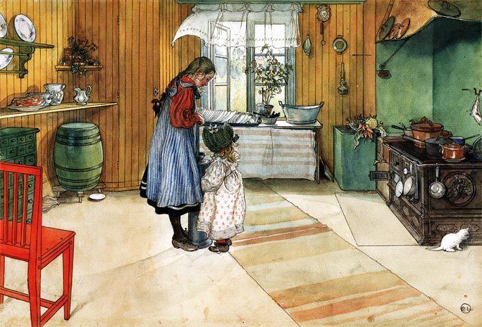 Carl Larsson Kitchen, The. AugenschmausDurcheinanderSkandinavienDie  KücheImpressionenAcrylMalereiSchwedenCarl Larsson