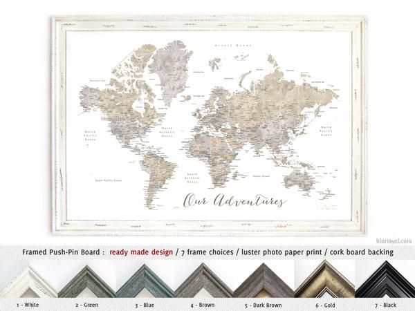 Framed push pin board world map with cities in neutral watercolor framed push pin board world map with cities in neutral watercolor our adventures gumiabroncs Image collections