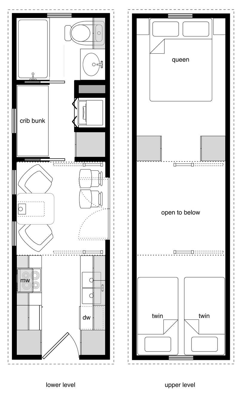 8x28 Tiny House For A Family Of Four Two Cribs A Twin