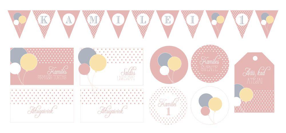 Paper garland, tags and cupcake toppers with balloons / Spaudos dekoracijos su balionais