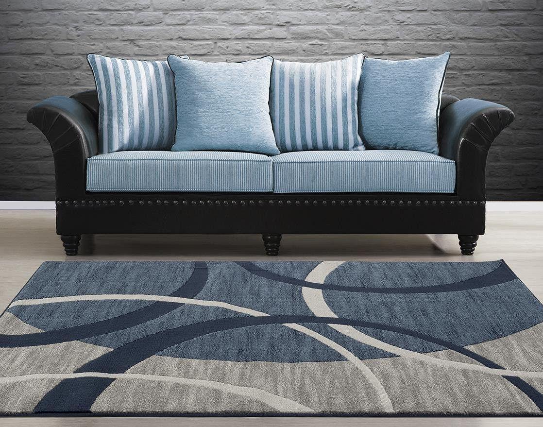 3060 Blue Contemporary Area Rugs