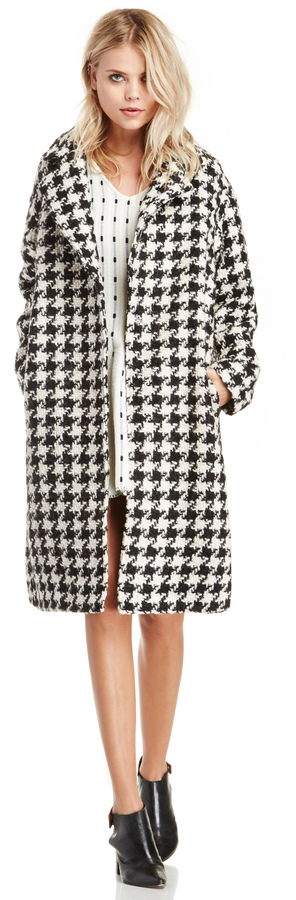 Dogtooth Printed Wool Coat In Black White Xs M | Wool coats ...