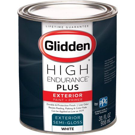 Glidden High Endurance Plus Exterior White Semi Gloss Paint 1 Quart