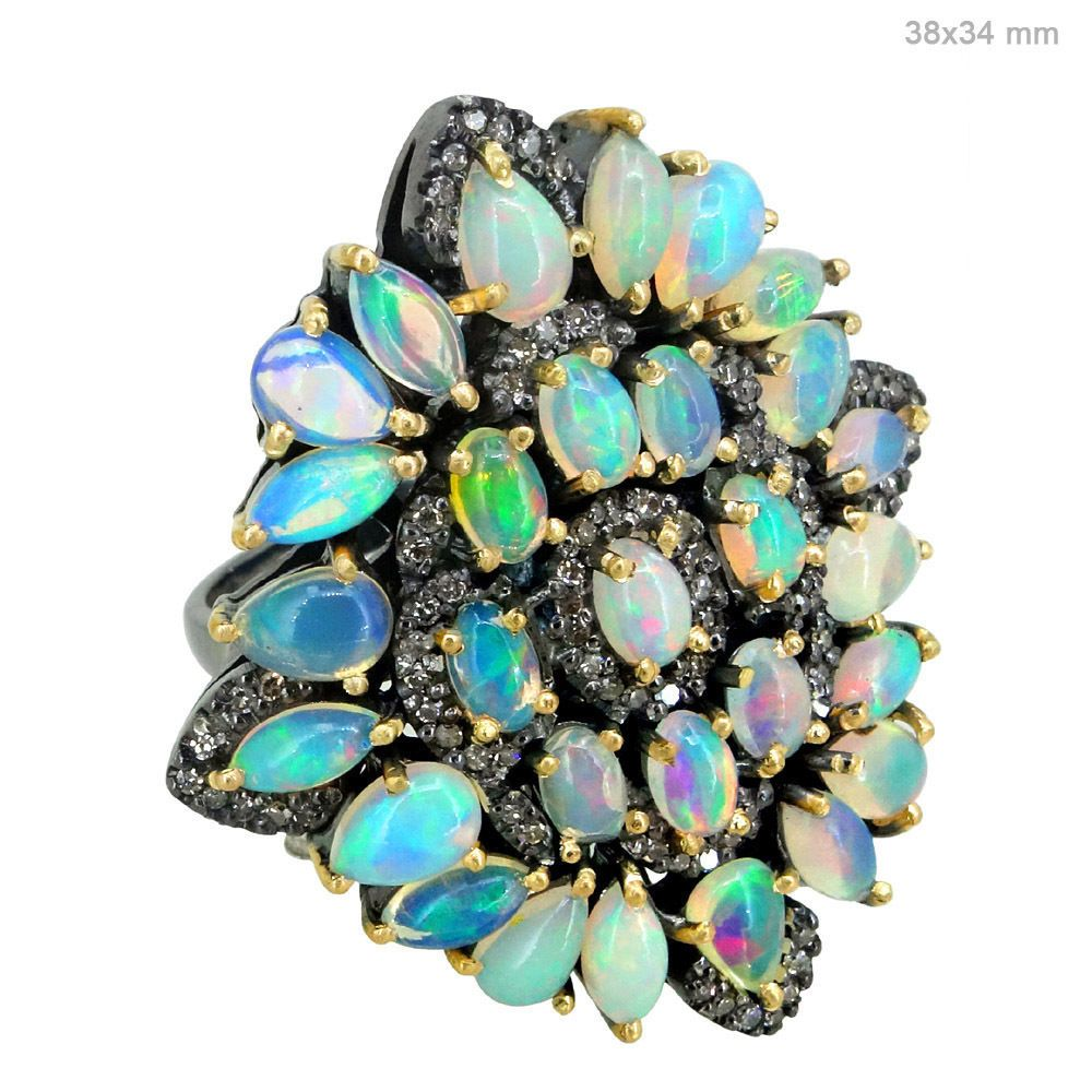 Gemstone Opal Cocktail Ring Sterling Silver Pave Diamond 14k Gold Jewelry Size 7