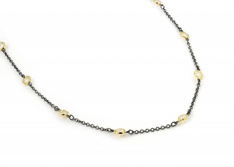 """4Mm Bezel Cz By The Yard Black Rhodium And Gold Plated 2 Tone Necklace 60"""""""