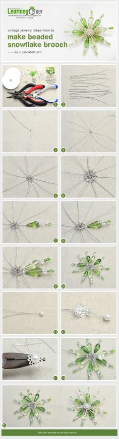 Vintage Jewelry Ideas- How to Make Beaded Snowflake Brooch