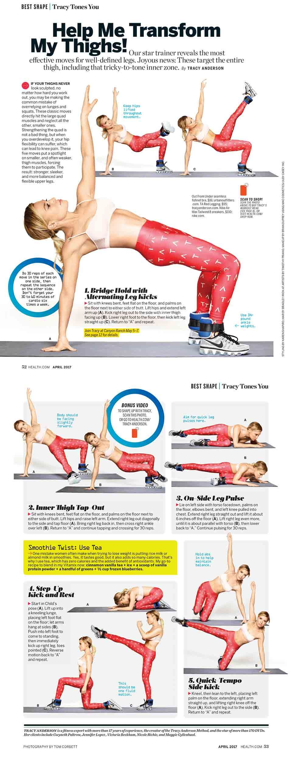Help Me Transform My Thighs! by Tracy Anderson in Health mag
