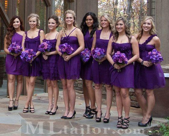 Different Dresses Black Shoes Purple Wedding Dress Wedding