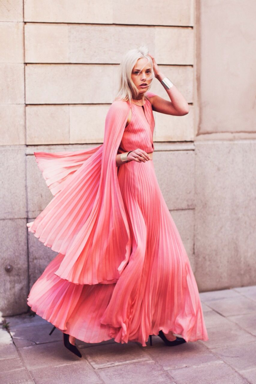 Womens street style fashion hot pink pleated maxi dress with cape