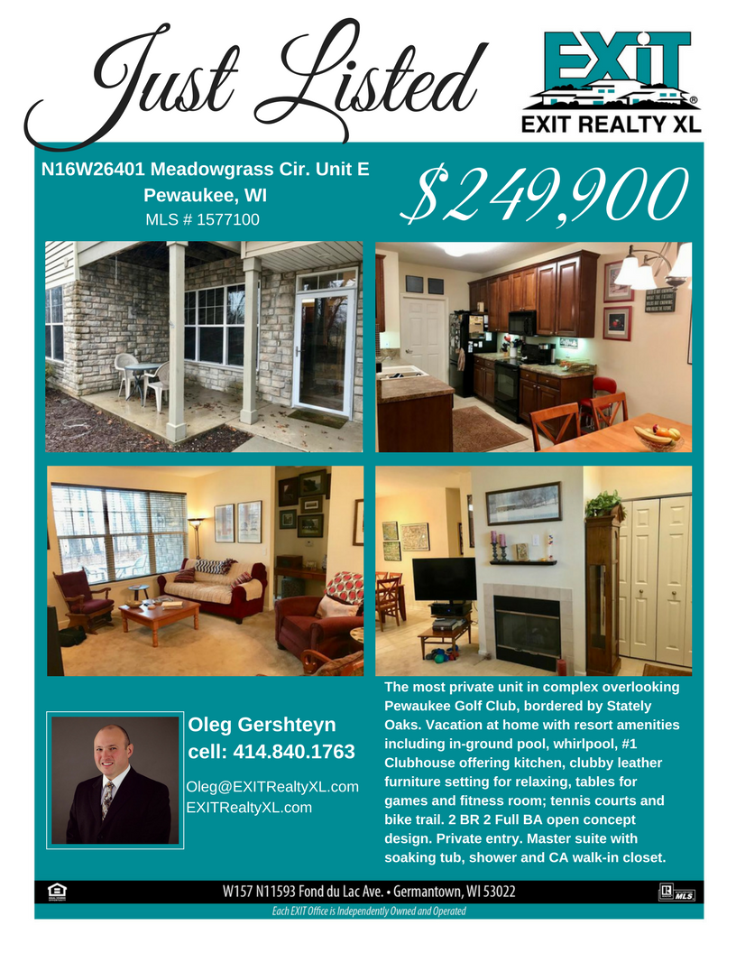 Oleg Gershteyn with EXIT Realty XL JUST LISTED A PEWAUKEE CONDO ...