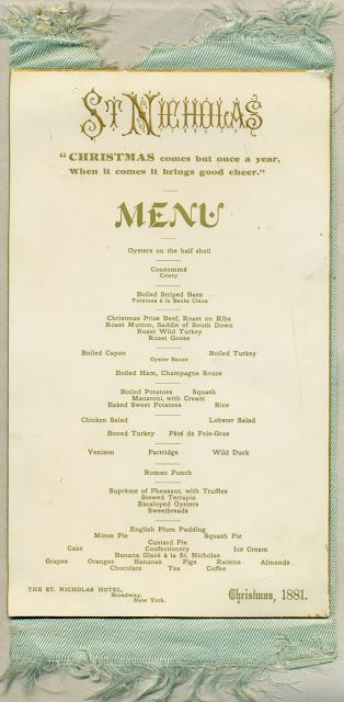 The American Menu Potatoes A La Santa Claus Vintage Menu Christmas Menu Christmas Dinner Menu
