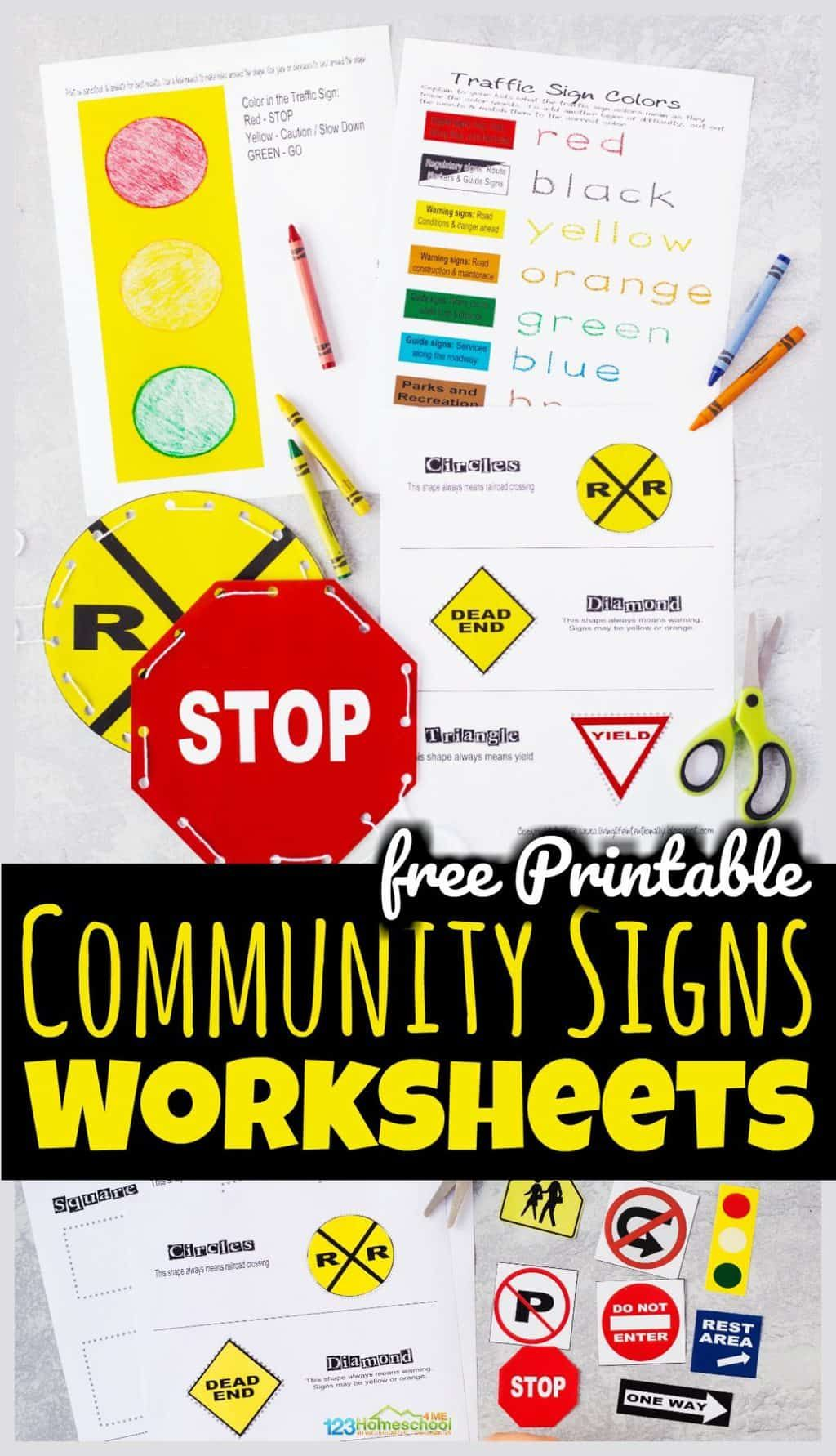 Free Printable Community Signs Worksheets Kindergarten Worksheets Community Signs Kindergarten Worksheets Printable