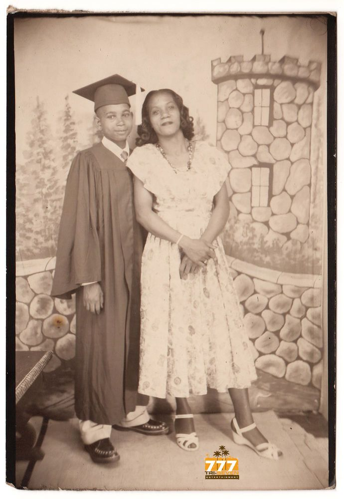 Vintage African American Mother Son Photo Booth Graduate Black